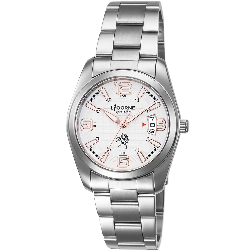 LICORNE 恩萃 Entree 簡約時尚設計都市腕錶-白x玫瑰紅/36mm