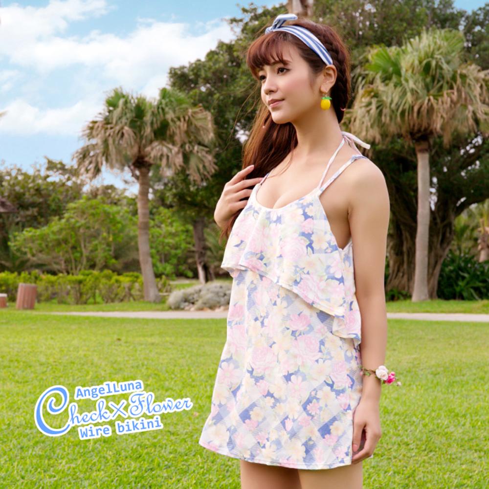 【AngelLuna日本泳裝】印花格紋三件式比基尼泳衣-藍色