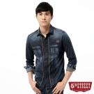 5th STREET 襯衫 織線牛仔長袖襯衫-男-酵洗藍