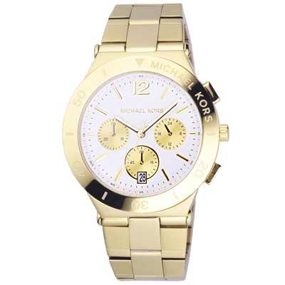 Michael Kors 高雅女伶貴氣時尚都會腕錶-白X金/40mm