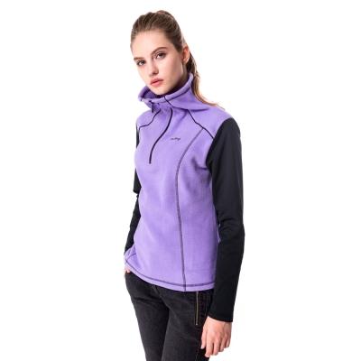 【hilltop山頂鳥】女款ZISOFIT半開襟刷毛上衣H51FF8薰紫/黑