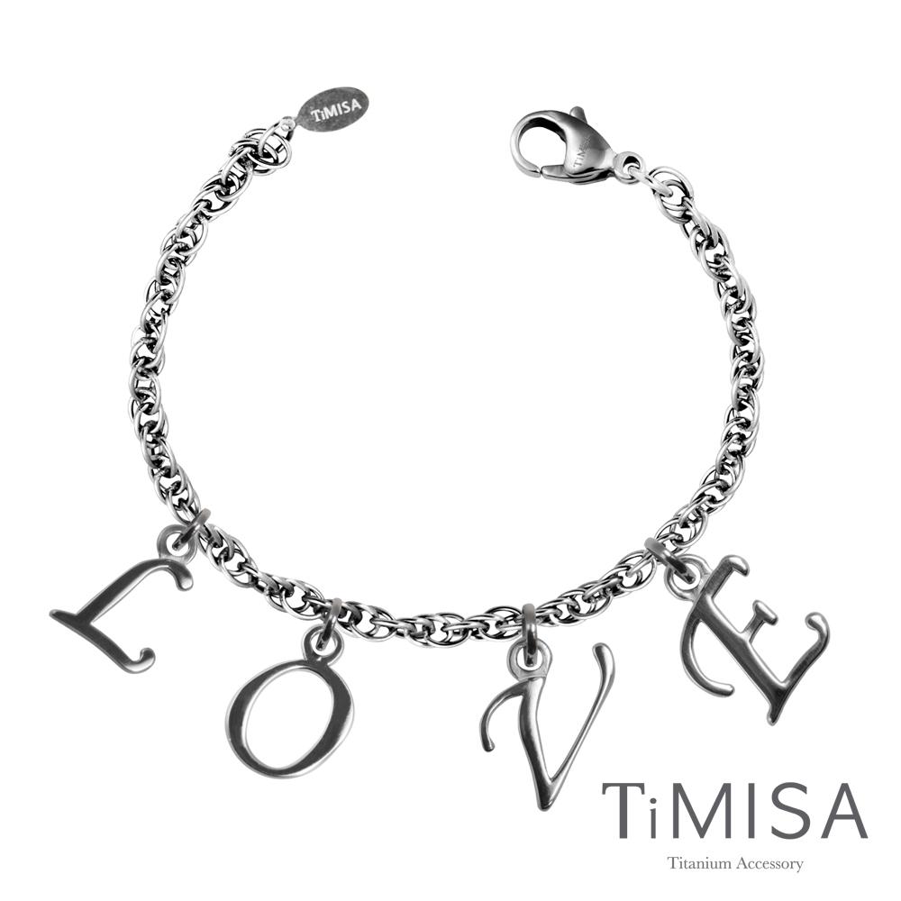 TiMISA《LOVE字母墜》純鈦手鍊(H)