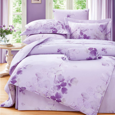 Saint Rose 卉影-紫 加大100%純天絲兩用被套床包四件組
