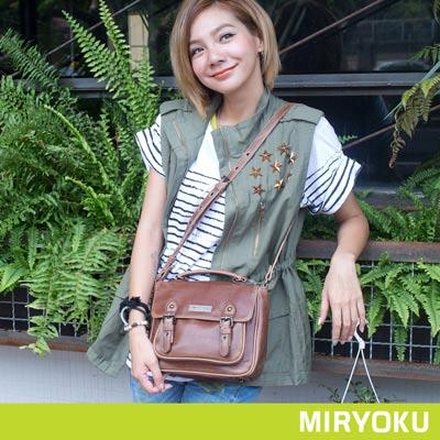 MIRYOKU-經典復古皮革系列 / 簡約復古風斜揹包-啡