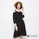 CHICA 羅馬假期細帶長版洋裝(色)
