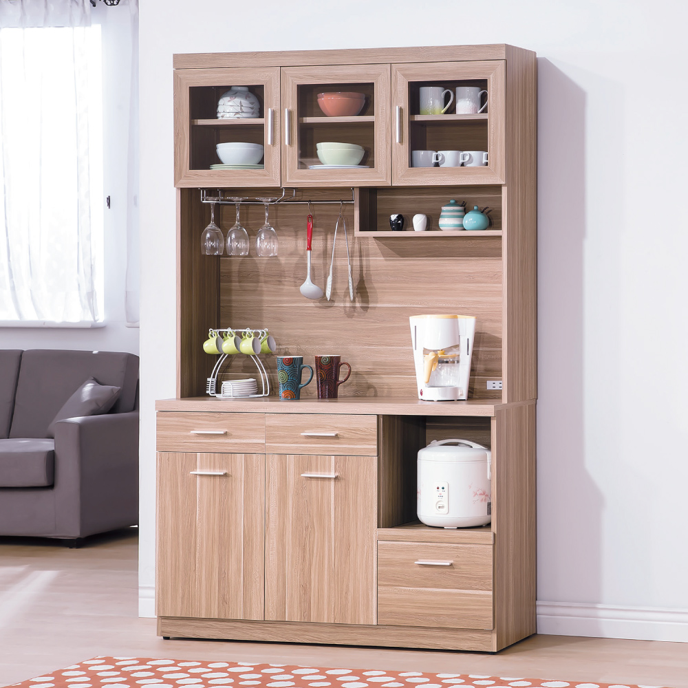 AS-蘭斯原木色4尺餐櫃-121x40.5x200cm