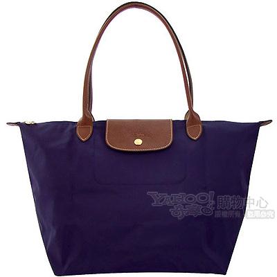 Longchamp深紫色咖啡色皮飾邊長背帶折疊水餃包(小)
