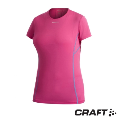 【瑞典 Craft】女款 COOL 短袖圓領排汗衣.T恤_桃紅