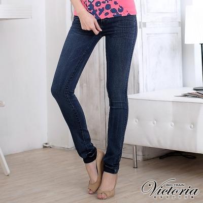 Victoria 窄直筒褲-女-中藍