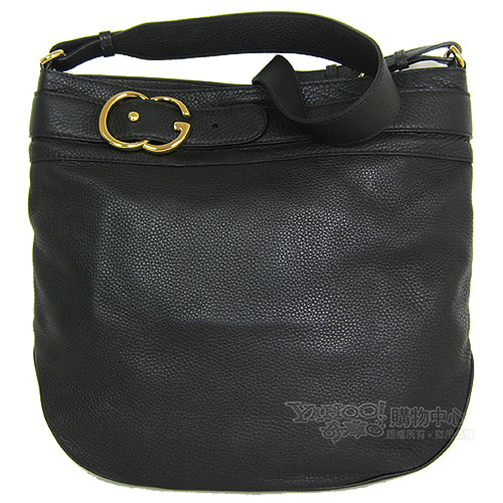 GUCCI 皮釦環荔枝紋革肩背包(黑)