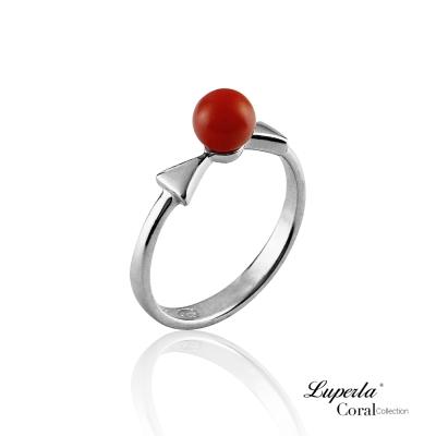 大東山珠寶 全紅珊瑚純銀戒指 雙星報喜