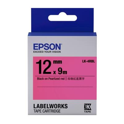 EPSON C53S654418 LK-4RBL珍珠彩紅底黑字標籤帶(寬度12mm)