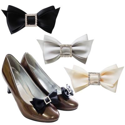 足的美形  經典蝴蝶結方型水鑽鞋飾  (1對)