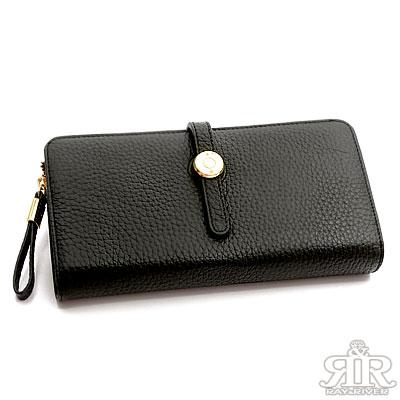 2R-荔紋牛皮Sharon圓釦長夾-百搭黑