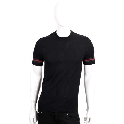 GUCCI 黑色綠紅綠條紋綴飾棉質短袖T恤