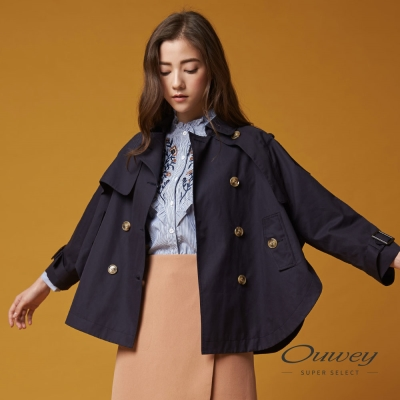 OUWEY歐薇 率性連袖寬版風衣短外套(藍)-動態show
