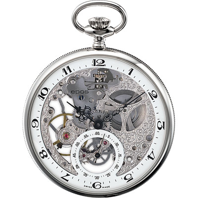 epos 雕花復古鏤空小秒針手動上鍊懷錶-50mm