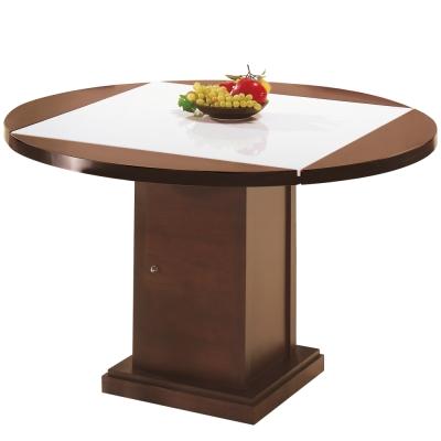 AT HOME-馬吉胡桃漢白玉原石方形四垂桌