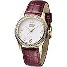 CITIZEN 柔美仕女晶鑽腕錶-白x咖啡紅錶帶/34mm