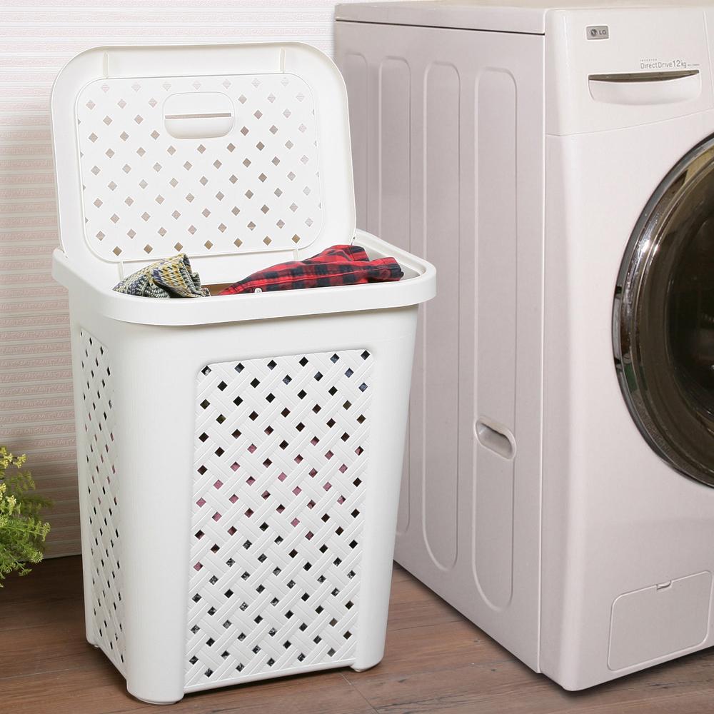 創意達人 藤蔓風多用途洗衣置物籃-2入