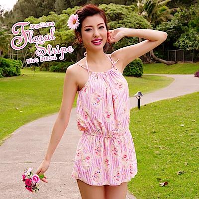 【AngelLuna日本泳裝】復古直條紋三件式比基尼泳衣-粉色連身裙