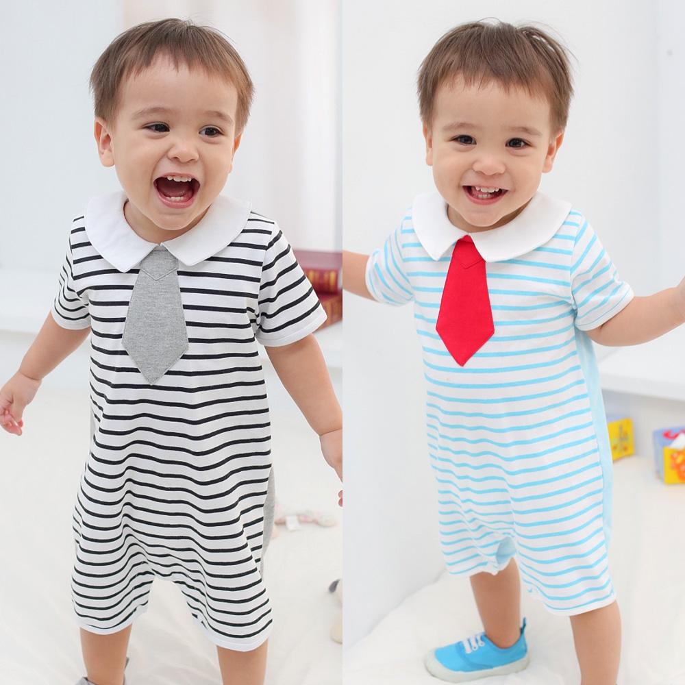 baby童衣 寶寶爬服 假領帶條紋氣質連身衣 61052