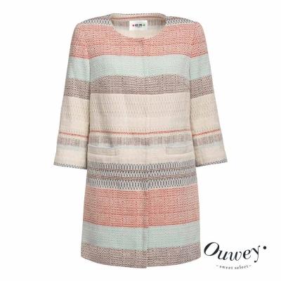 OUWEY歐薇 民族色彩條紋長版外套(米)