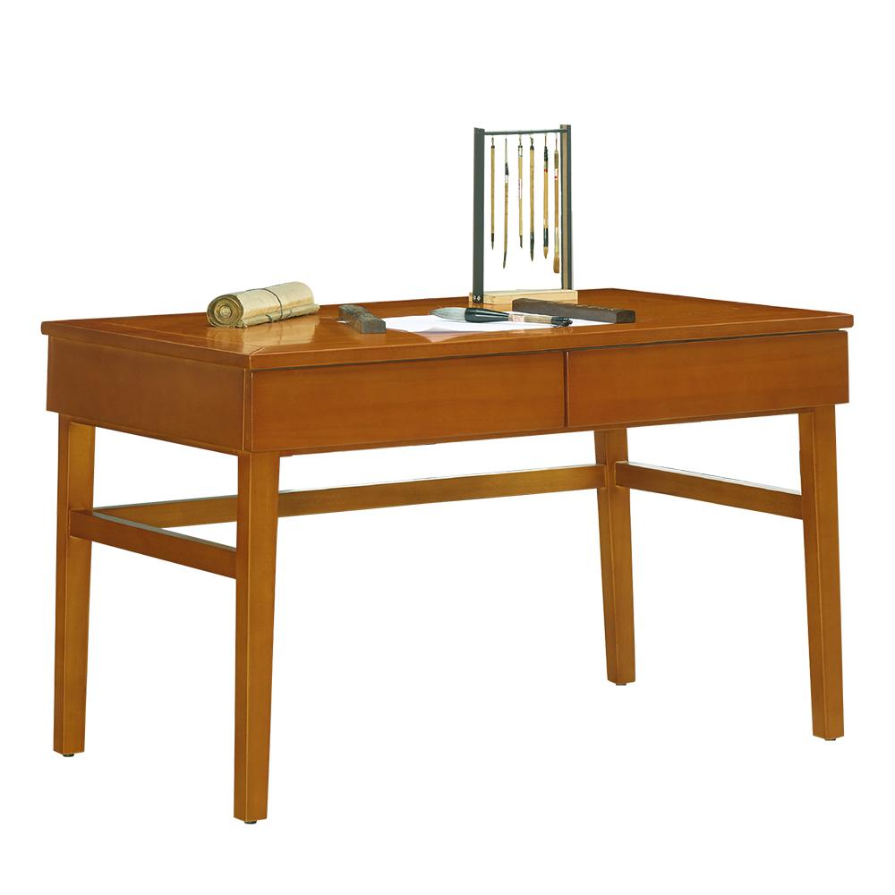 AT HOME-宙斯4.2尺實木柚木二抽書桌(127*66*77cm)