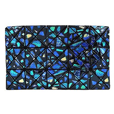 ISSEY MIYAKE三宅一生BAOBAO幾何浮雕寶石3x5鏡面手拿包(藍綠彩)