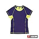 SASAKI 高彈力機能性運動緊身圓領短衫-女-鬱香紫/艷黃