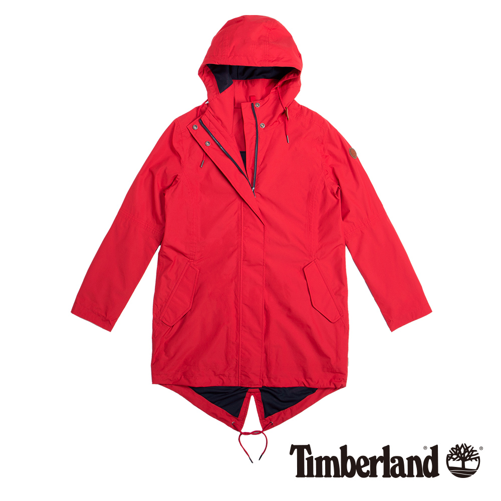Timberland 女款紅色魚尾連帽防水大衣