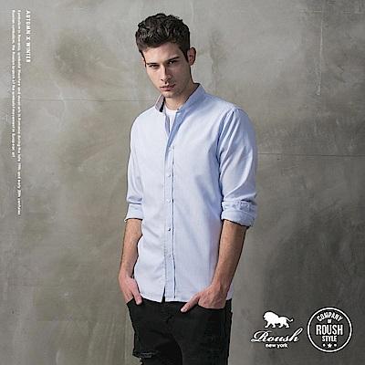 ROUSH 韓版立領領牛津條紋襯衫 (3色)