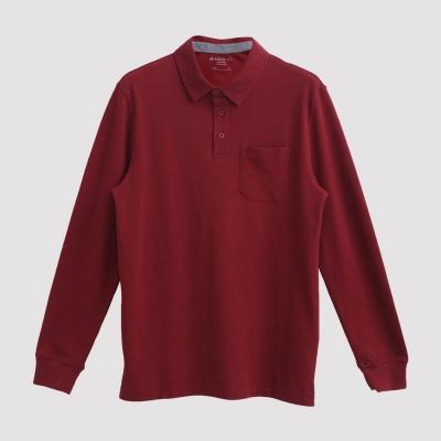 Hang Ten - 男裝 - 經典美式純色口袋POLO衫 - 紅