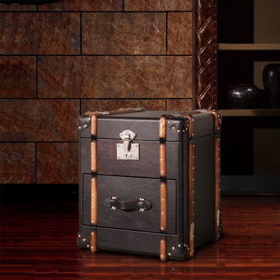 MUSE Richards理查茲復古黑牛皮掀蓋單抽收藏箱W54*D56*H64 CM