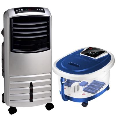 (超值組合)勳風 機王(冰風暴) 降溫/冷凝/移動/水冷氣(銀)+泡腳機