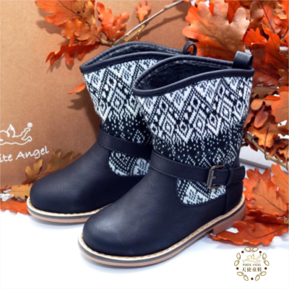 WhiteAngel天使童鞋-D342 菱線格紋環扣馬靴-黑