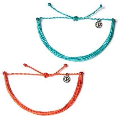 Pura-Vida-Solid-基本款幸運手鍊-水藍色-橘色