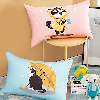 La Lune 文創風100%純棉雙面AB版印花舒適枕 撐傘的喵咪