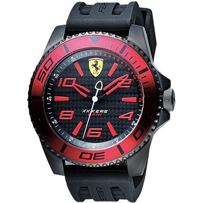 Scuderia Ferrari 法拉利 XX KERS 競速手錶-黑x紅圈/50mm