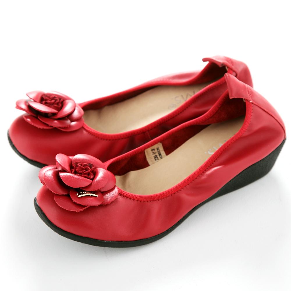 【G.Ms.】經典山茶花‧柔軟彎折厚底坡跟牛皮娃娃鞋‧熱情紅