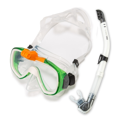 V.DIVE 威帶夫潛水精品組-GoProT面鏡-101G-白綠色