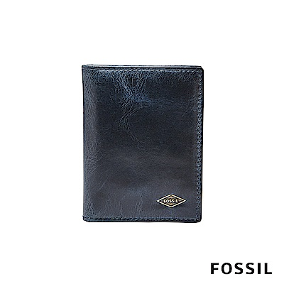 FOSSIL RYAN真皮RFID卡夾-海軍藍