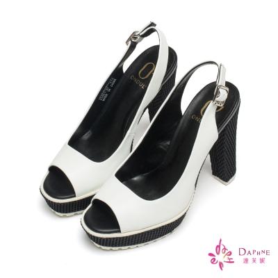 達芙妮x高圓圓-圓漾系列網紋底前高後高粗跟魚口鞋-個性白