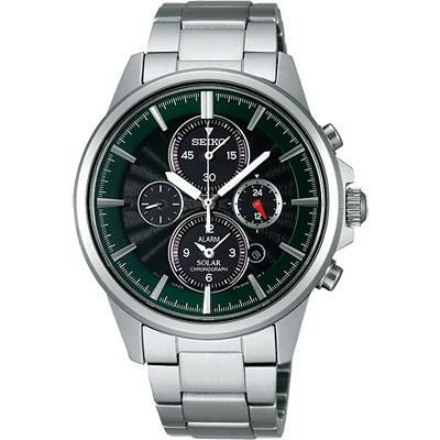 SEIKO SPIRIT 王者之劍太陽能鬧鈴兩地時間腕錶-黑/綠/40mm