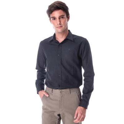 【hilltop山頂鳥】男款保暖吸溼快乾長袖襯衫C05M17藍