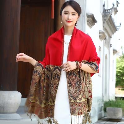 Seoul Show 曼荼羅-瓏月 棉質編織圍巾披肩 大紅