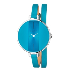 ELIXA Finesse系列銀框  海藍錶盤/海藍色皮革纏繞式錶帶38mm