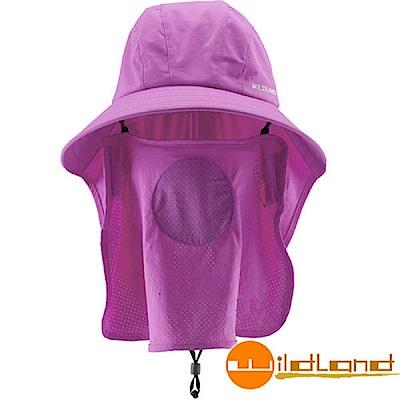 【荒野 WildLand】中性抗UV多功能護頸遮陽帽.防曬帽_紫羅蘭
