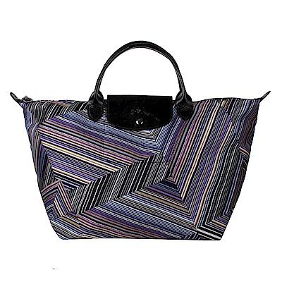 Longchamp OP ART幾何風格錯視條紋短提把手提水餃包-中/紫晶色