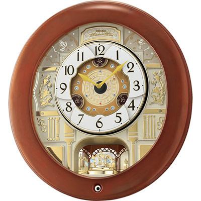 SEIKO精工 施華洛世奇水鑽音樂掛鐘(QXM360B)-咖啡色框/43cm
